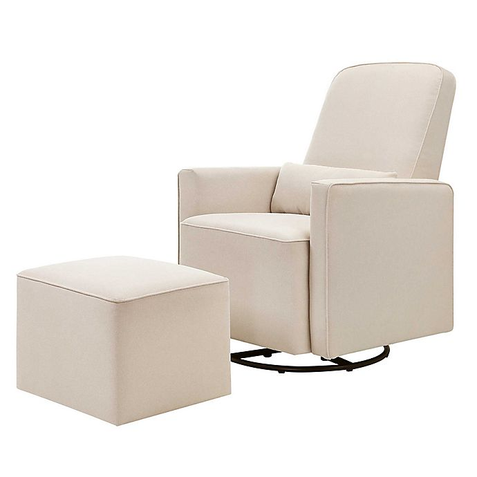 Alternate image 1 for DaVinci Olive Upholstered Swivel Glider with Ottoman in Cream