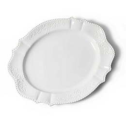 Modern Farmhouse Home Turkey Beaded 21-Inch Scalloped Oval Platter in White