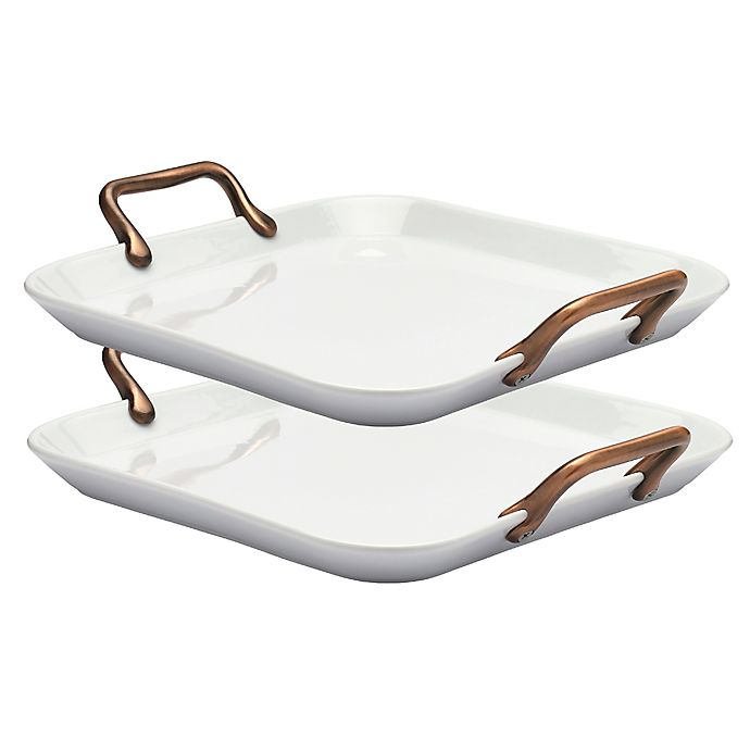 Alternate image 1 for Denmark® 14-Inch Square Porcelain Serving Trays in White with Copper Handles (Set of 2)