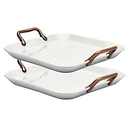 Denmark® 14-Inch Square Porcelain Serving Trays in White with Copper Handles (Set of 2)