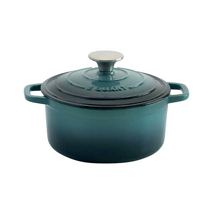 Alternate image 1 for Artisanal Kitchen Supply® 2 qt. Enameled Cast Iron Dutch Oven in Seafoam