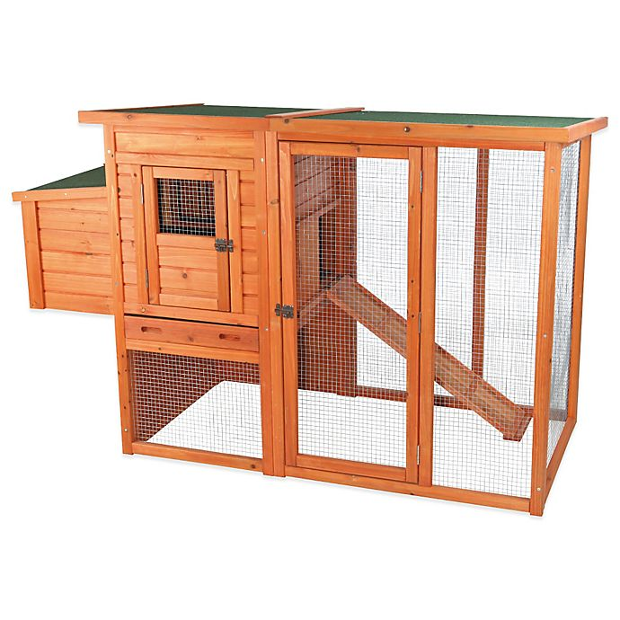 Alternate image 1 for Trixie 2-Story Flat Roof Chicken Coop with Outdoor Run in Brown