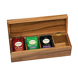 Lipper International Acacia 4-Compartment Tea Box