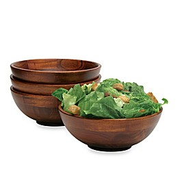 Lipper Cherry Wood Footed All Purpose Bowls (Set of 4)