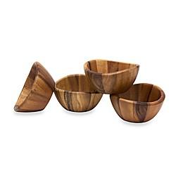 Lipper International Acacia Wood Wave Bowls (Set of 4)