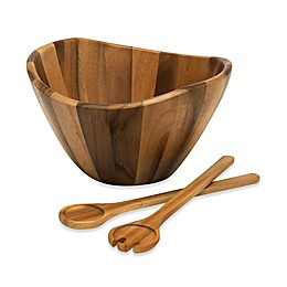 Lipper International Acacia Wood 3-Piece Wave Bowl and Server Set
