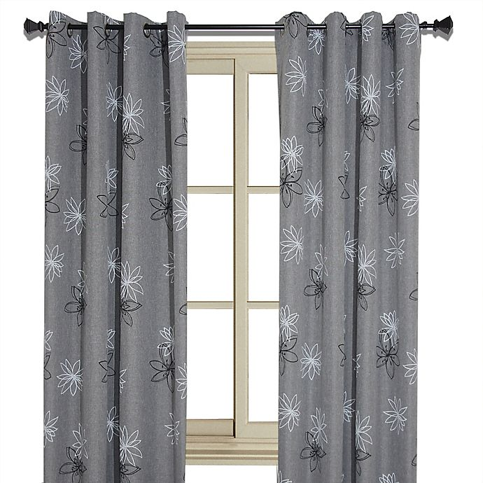 Alternate image 1 for Crawford 95-Inch Floral Print Room-Darkening Window Curtain Panel in Graphite
