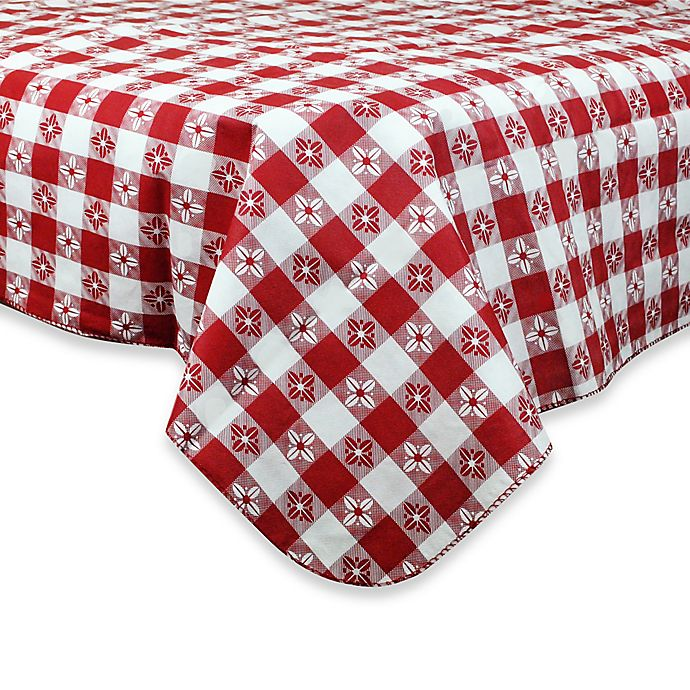 Alternate image 1 for Checkered 60-Inch Round PEVA Tablecloth in Red