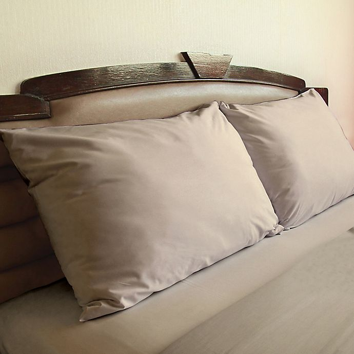 Alternate image 1 for Cotton 850 Thread Count Standard Pillowcase in Taupe (Set of 2)