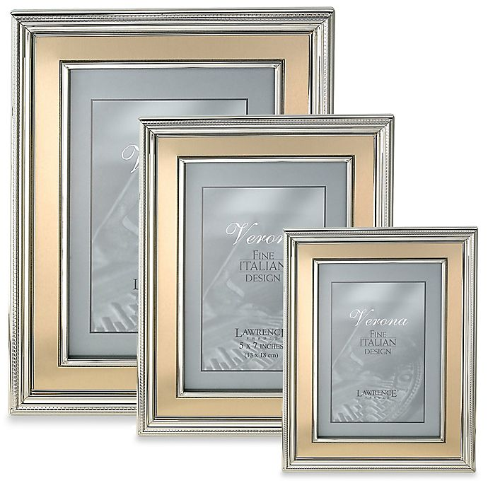 Alternate image 1 for Lawrence Frames Silver-Plated Picture Frame with Brushed Gold Inner Panel