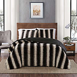 Snow Leopard Faux Fur 3-Piece Twin Comforter Set in Grey
