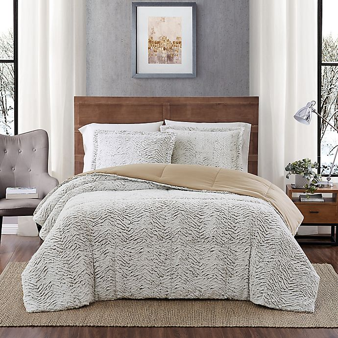 Alternate image 1 for Carved Faux Fur 3-Piece Twin Comforter Set