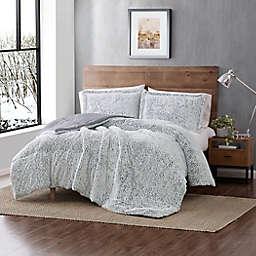 Arctic Owl Faux Fur 2-Piece Twin Comforter Set in Grey
