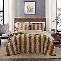 Snow Leopard Faux Fur 3-Piece Twin Comforter Set in Taupe