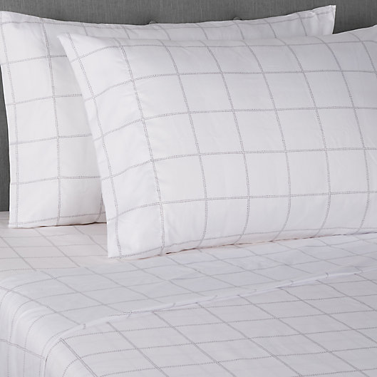 Alternate image 1 for Simply Essential™ Truly Soft™ Microfiber Standard Pillowcases in Windowpane (Set of 2)