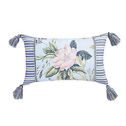 Williamsburg Garden Images Oblong Throw Pillow in Blue