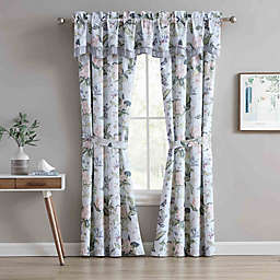 Williamsburg Garden Images 2-Pack 84-Inch Rod Pocket Window Curtain Panels in Blue