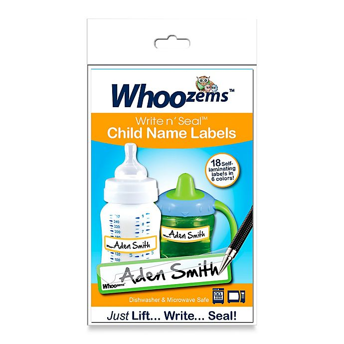 Alternate image 1 for Whoozems™ Write n' Seal™ Child Name Labels (Pack of 18)