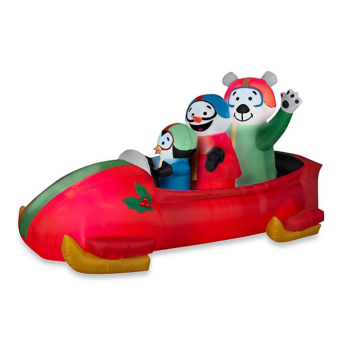 Alternate image 1 for Inflatable Outdoor Animated Bobsled Team Penguin, Snowman and Teddy Bear