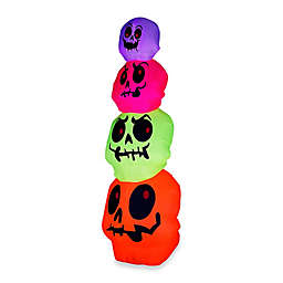 Inflatable Outdoor Neon Skulls Stack