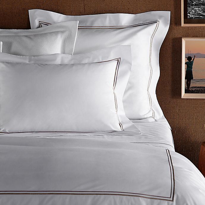 Alternate image 1 for Frette At Home Piave Standard Pillowcase in White/Stone