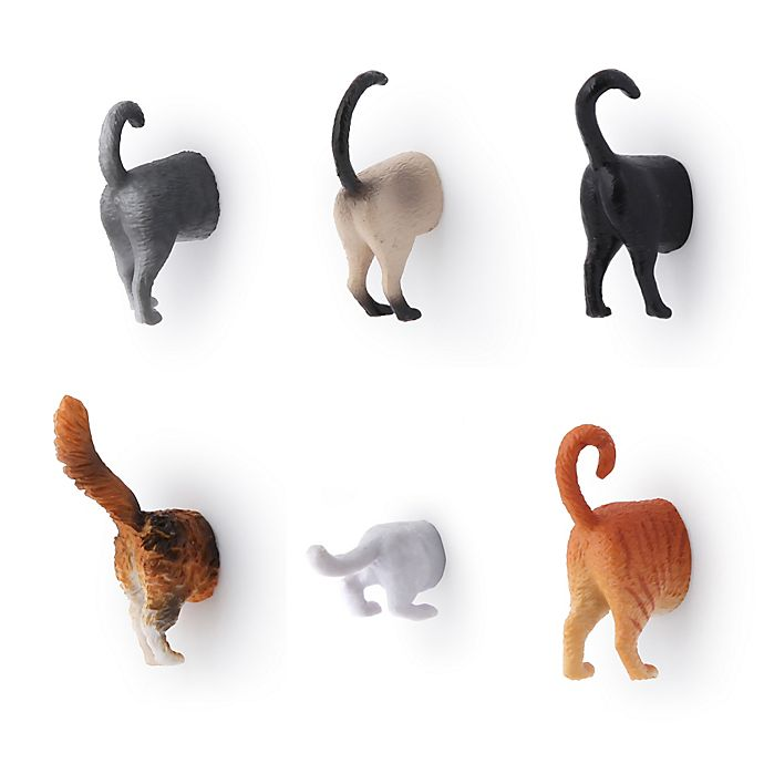 Alternate image 1 for Kikkerland® Design Cat Butt Magnet (Set of 6)