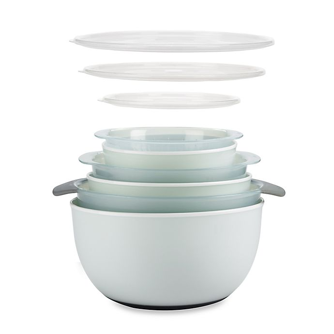 Alternate image 1 for OXO Good Grips® 9-Piece Nesting Mixing Bowls and Colanders Set in Seaglass Blue