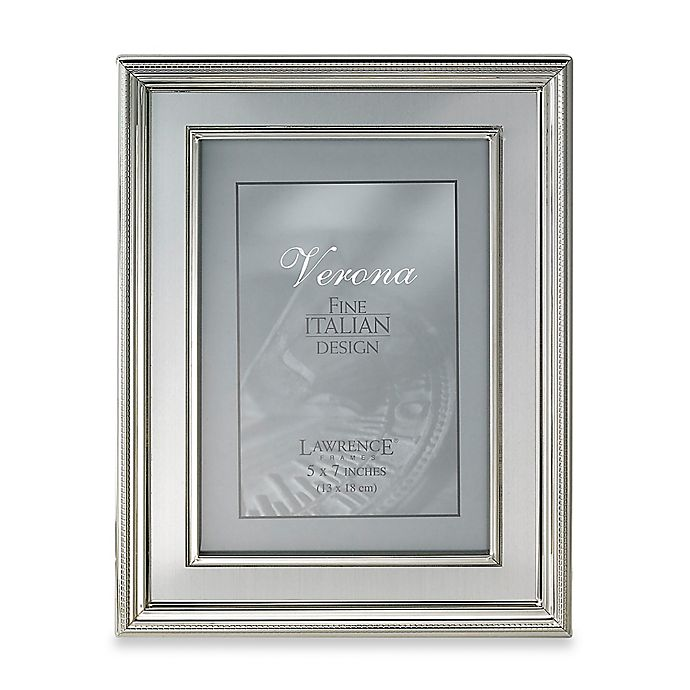 Alternate image 1 for Lawrence Frames 5-Inch x 7-Inch Silver-Plated Picture Frame with Brushed Inner Panel