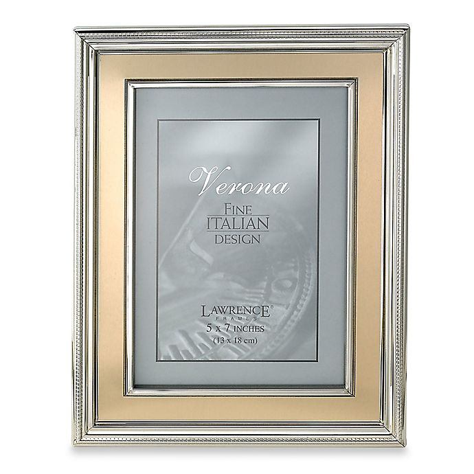 Alternate image 1 for Lawrence Frames 5-Inch x 7-Inch Silver-Plated Picture Frame with Brushed Gold Inner Panel