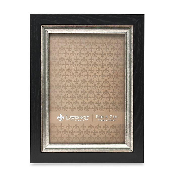 Alternate image 1 for Lawrence Frames 5-Inch x 7-Inch Burnished Silver Inner Picture Frame in Black