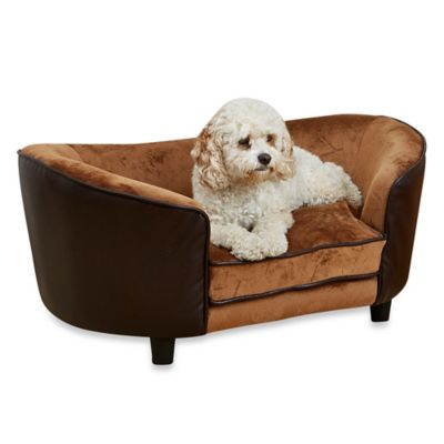 Snuggle Velvet And Faux Leather Large Dog Bed In Pebble