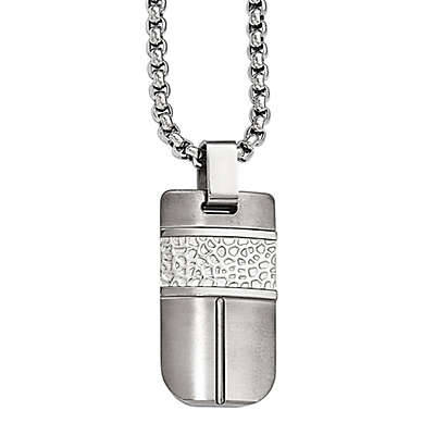Edward Mirell Titanium and Hammered Sterling Silver Men's 20-Inch Chain Pendant Necklace