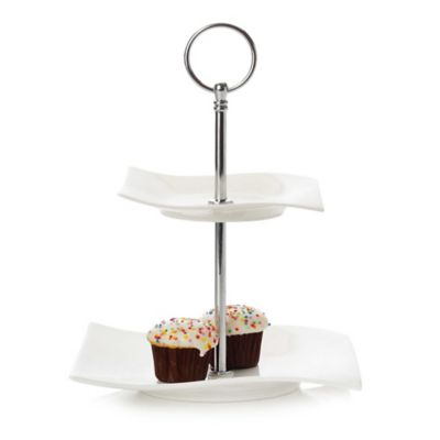 Maxwell & Williams™ White Basics Motion 2 Tier Sweets Stand by Bed Bath And Beyond