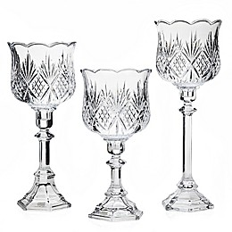 Godinger Dublin Crystal 3-Piece Hurricane Lamp Candlestick Set