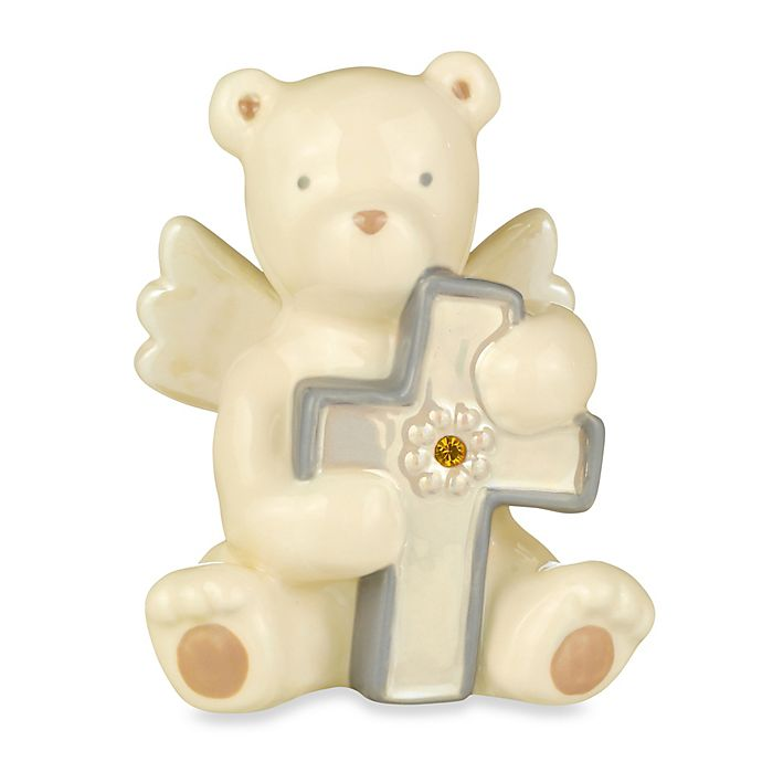 Alternate image 1 for Grasslands Road® Bear Angel with November Yellow Topaz-Colored Glass Birthstone Cross