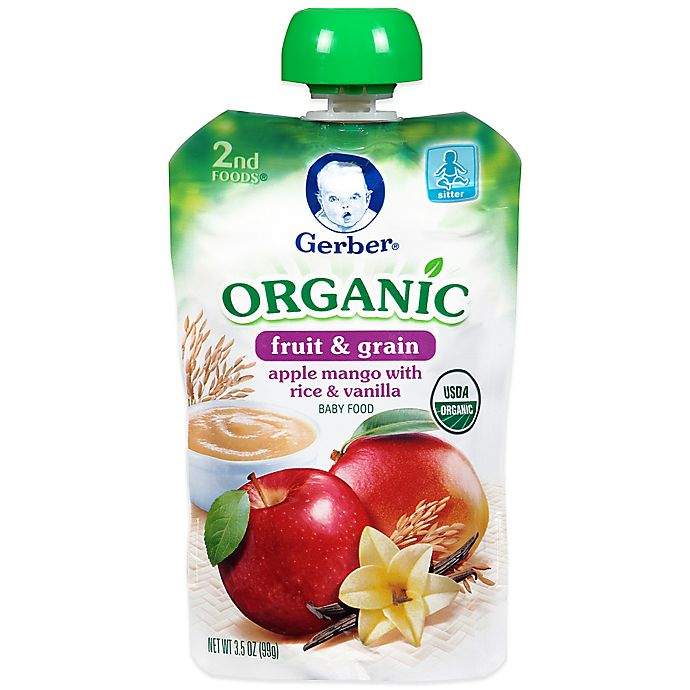 Alternate image 1 for Gerber® 2nd Foods® Organic Fruit & Grain 3.5 oz. Apple, Mango with Rice and Vanilla