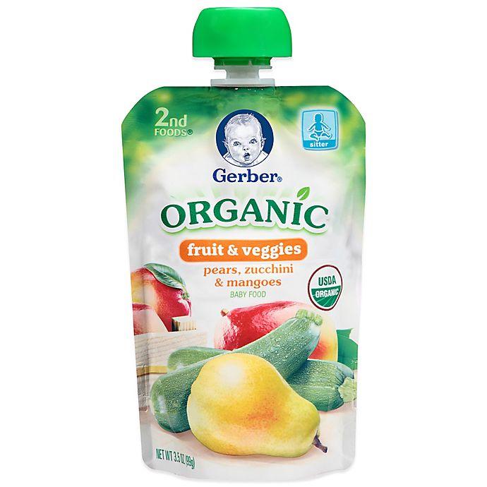 Alternate image 1 for Gerber® 2nd Foods® Organic Fruit & Veggies 3.5 oz. Pears, Zucchini & Mangoes