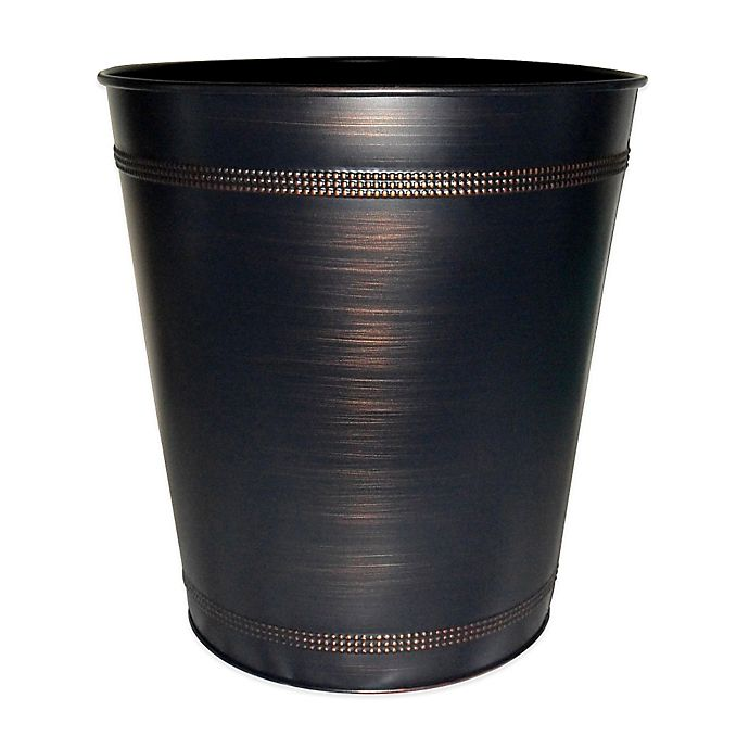Beaded metal wastebasket in oil rubbed bronze bed bath beyond for Oil rubbed bronze bathroom wastebasket