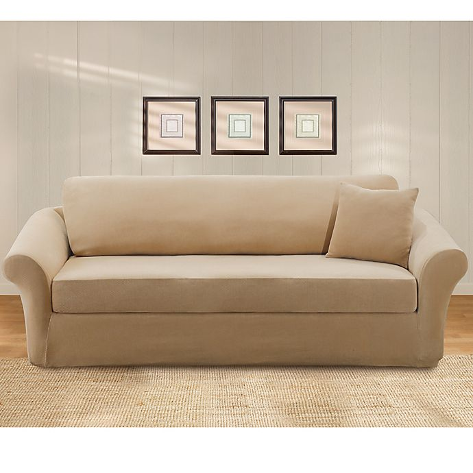 Swell Sure Fit Stretch Pique 3 Piece Sofa Slipcover Bed Bath Gmtry Best Dining Table And Chair Ideas Images Gmtryco
