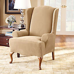 Sure Fit® Stretch Pique Wingback Chair Slipcover in Cream