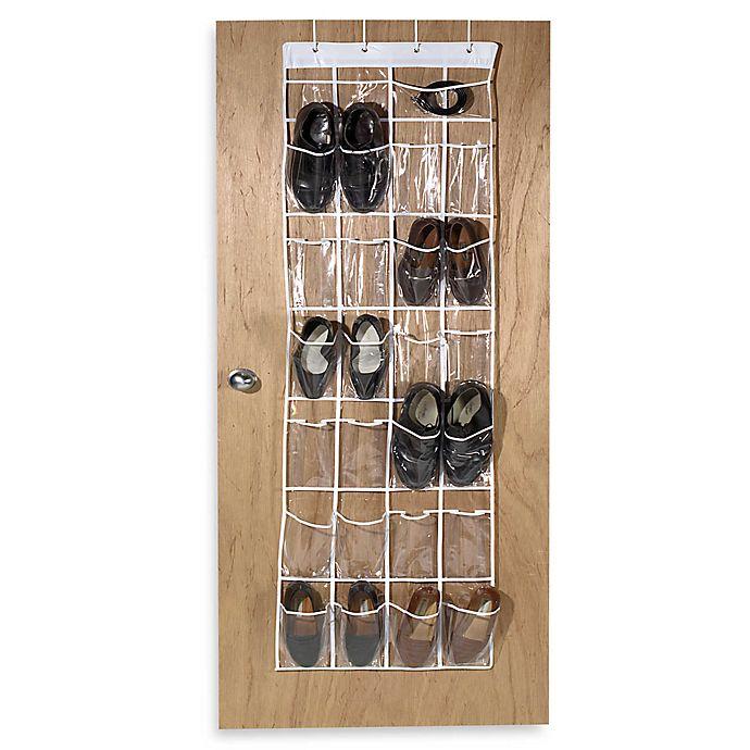 Alternate image 1 for Crystal Clear 24 Pocket Over-The-Door Vinyl Shoe Organizer