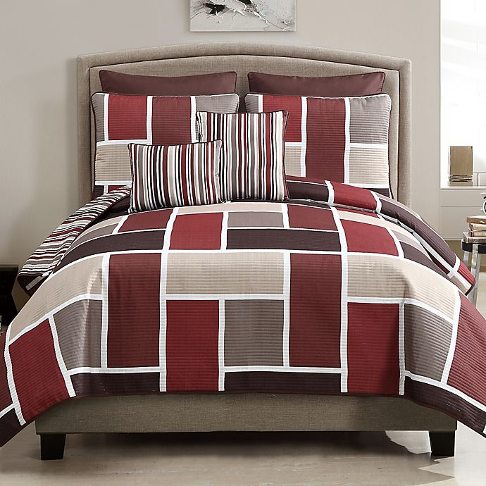 Alternate image 1 for Morgan 7-Piece Reversible Quilt Set in Red
