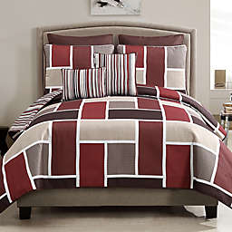 Morgan 7-Piece Reversible Quilt Set in Red