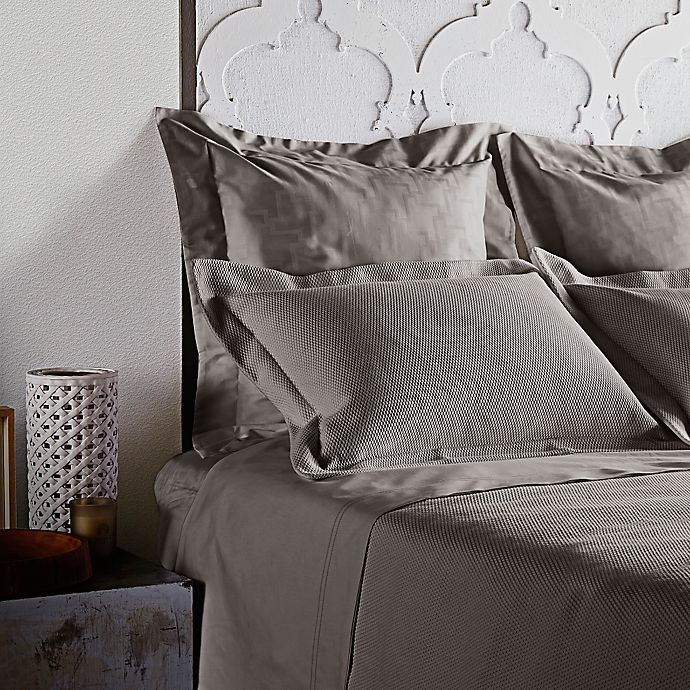 Alternate image 1 for Frette At Home Creta Coverlet in Stone