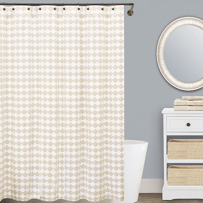 Alternate image 1 for Lamont Home™ Finley 144-Inch x 72-Inch Cotton Shower Curtain in Beige/White