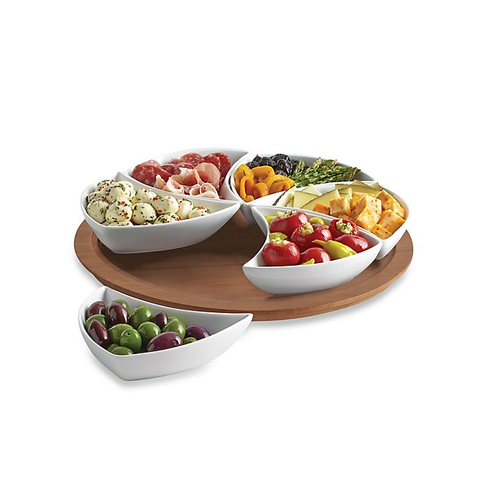 Alternate image 1 for B. Smith® 7-Piece Lazy Susan Swirl Server in White