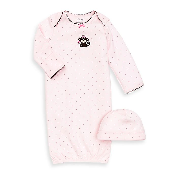 Alternate image 1 for Little Me® Pretty Monkey 2-Piece Newborn Gown and Hat Set