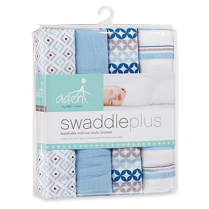 Alternate image 1 for aden® by aden + anais® Boy Blue Muslin 4-Pack swaddleplus® Blankets