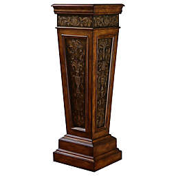 Pulaski Preston Weighted Base Pedestal with Faux Metal Paneling in Brown