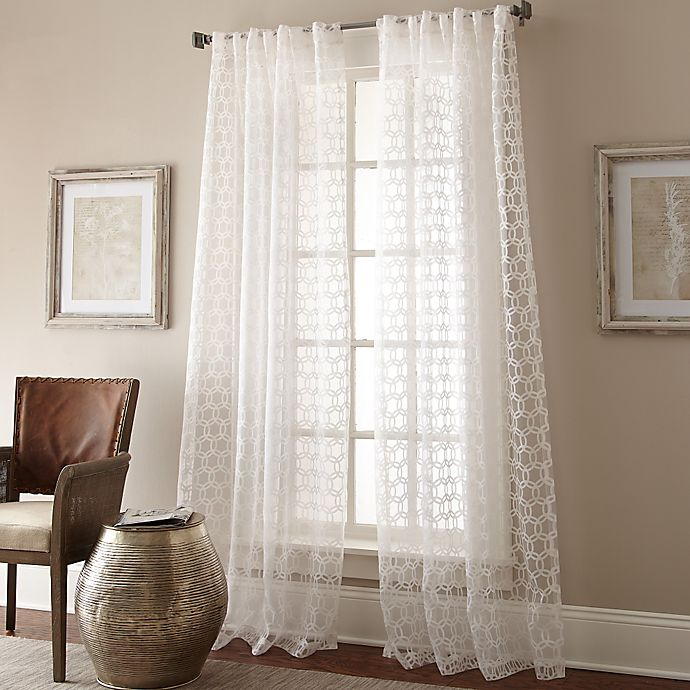Strie Circles 108 Inch Lined Window Curtain Panel In Sheer